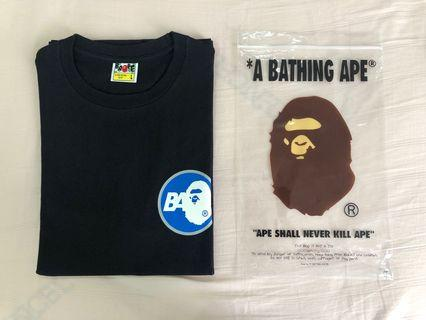 A bathing ape front and back logo black tee