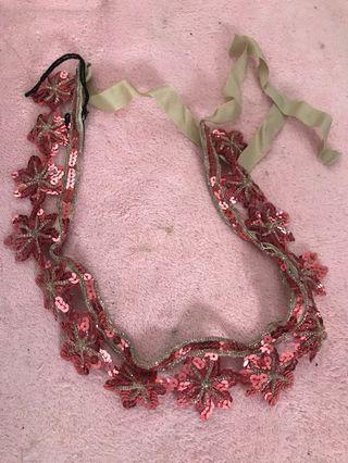 Miu Miu beading sequins floral necklace belt ribbon tie w/ box