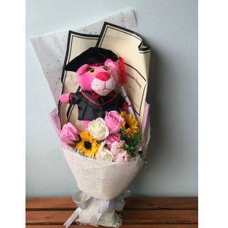 Graduation Bouquet with Plush Toy + Soap Sunflower & Rose Bouquet / Pink Panther Graduation Bouquet / Convocation