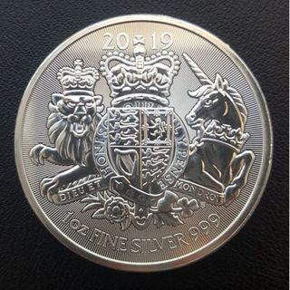 2019 1 oz Silver Coin Royal Arms (BU) including capsule