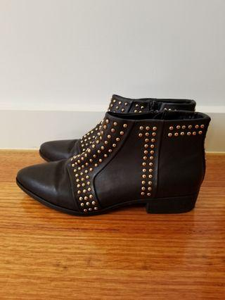 Asos black gold studded boots size 6 UK or 8 AU