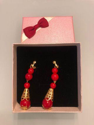 Red Chinese Earrings - Clip on