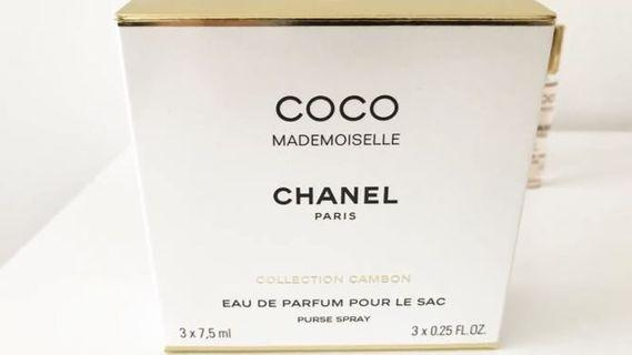 Limited edition Chanel coco Mademoiselle eau de parfum purse spray new genuine 3x7.5ml rare