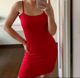 cotton on red bodycon dress