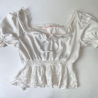 Babydoll white crochet peplum top