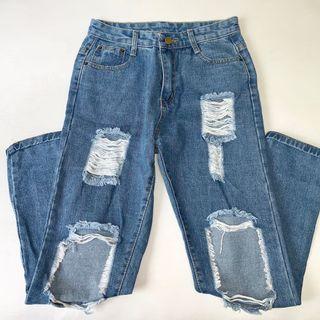 Denim ripped distressed high waist jean