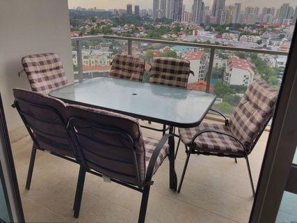 Patio set for sale - 6 armchairs + glass top table