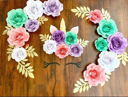 Flower Paper Decor Unicorn Set