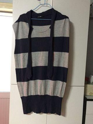 直間線仔上衣 (淺灰/藍色) M碼