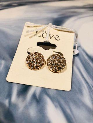 Rose Gold & Crystal Clip On Earrings
