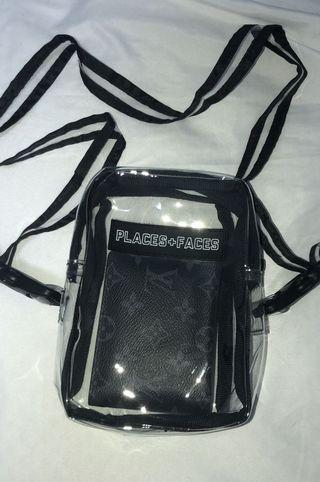 places+faces pvc clear shoulder bag