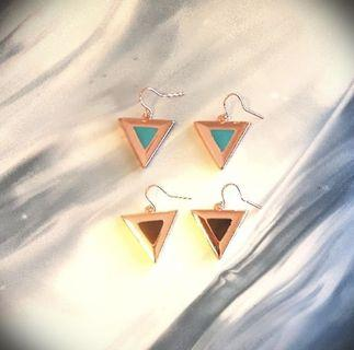 Metal Triangle Enamel Drop Earrings In Rose Gold/Turquoise Rose Gold/Cream