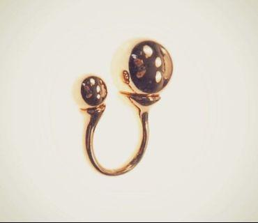 Open Shank Ring in Gold 10mm & 18mm Beads Statement Piece