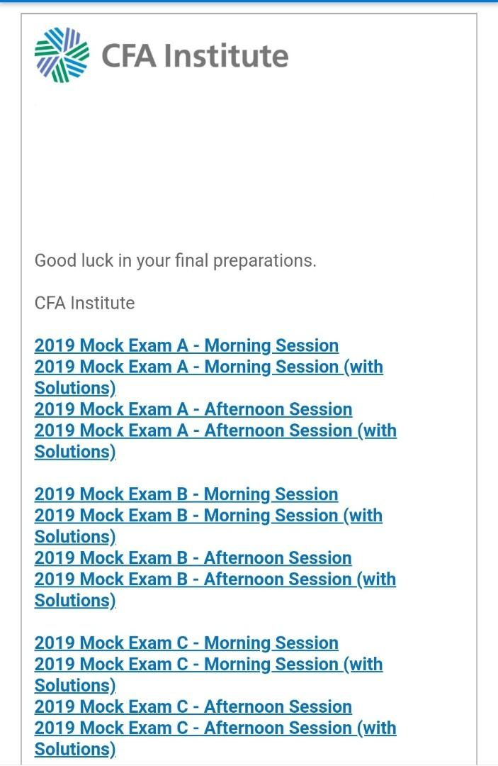2019 CFA Level 1 mock exams with full answers [3 unique sets