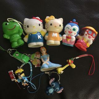 Set of finger toy and keychain Doraemon Hello kitty naruto anime