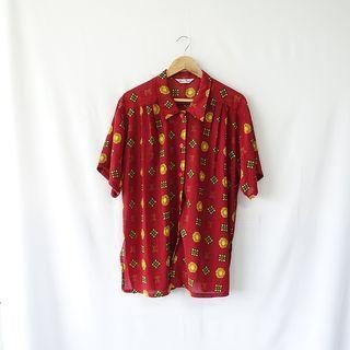 小草古著潮/vintage/大紅花/復古襯衫