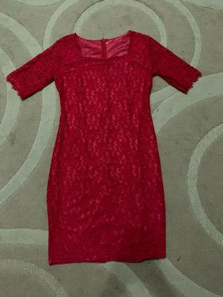 Red soft lace dress