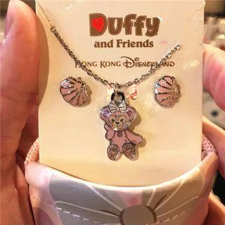 🚚 Shellie May Duffy and Friends Disneyland Necklace Earrings Set great as gift can provide gift box at $2 extra Disney silver chain and earrings girlfriend cute gift