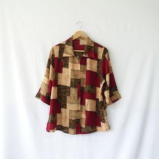 小草古著潮/vintage/縫線拼接/復古襯衫
