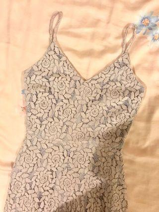 Thread Theory Pale Lavender Rose Pattern Floral Lace Dress