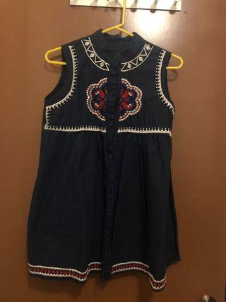 Navy Blue Embroidery Dress