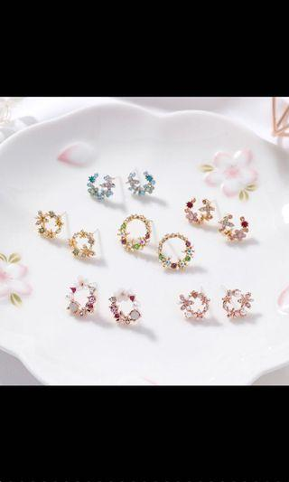 Korean Earrings - Ring Shaped Flower Design