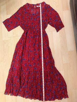 紅色碎花裙