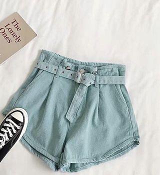 粉蓝牛仔短裤+裤带