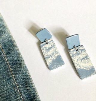 🚚 Handmade Clay Earrings- Denim Collection
