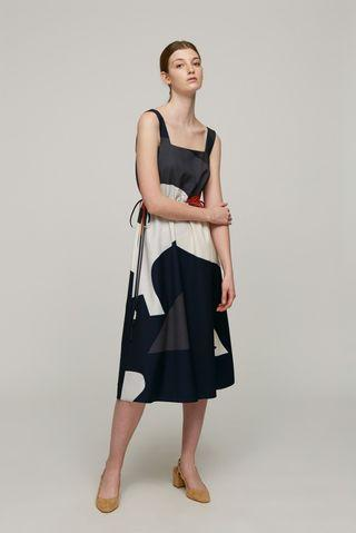 Our second nature Roadmap Square Neck Midi Dress