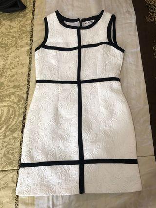 Korean Embossed White Black Dress