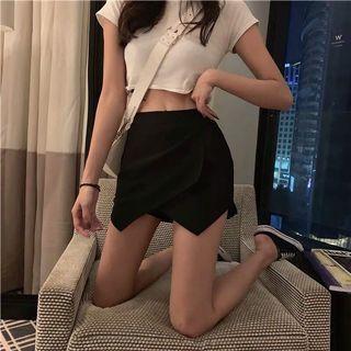 High waist black skirt pants 弹力显瘦A字裤裙