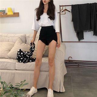 High waist black fitted short pants 韩版高腰弹力黑色牛仔短裤