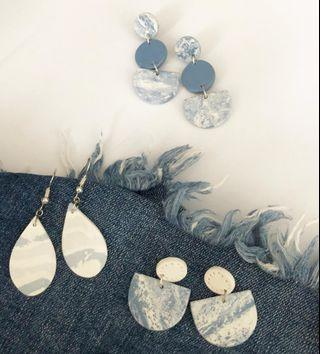 Handmade Clay Earrings - Denim Collection