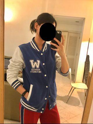 Preppy varsity letterman oversized boyfriend jacket (authentic University of Warwick)