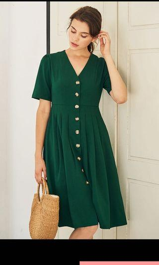 TCL Caylin Buttoned Dress in Green