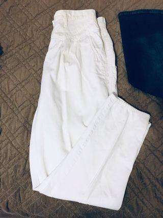 New high waisted white mom jeans