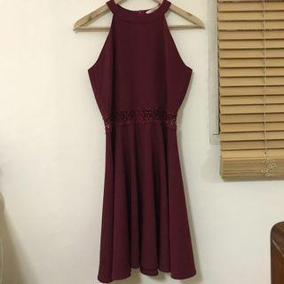 🚚 蕾絲鏤空縮腰傘擺洋裝