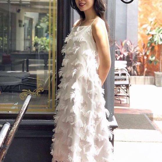 3 warna - Premium layered fur Dress / size S M L