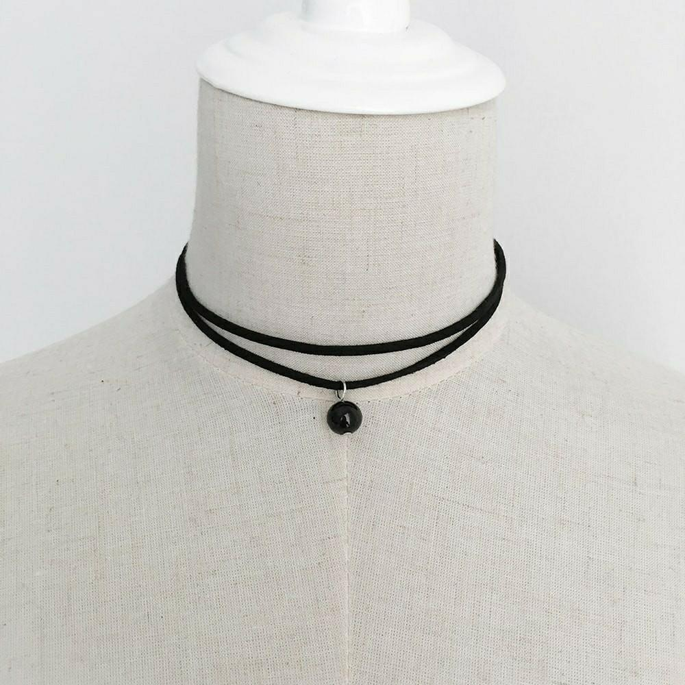 Black Layered Bead Choker Necklace Jewellery Chain Murah
