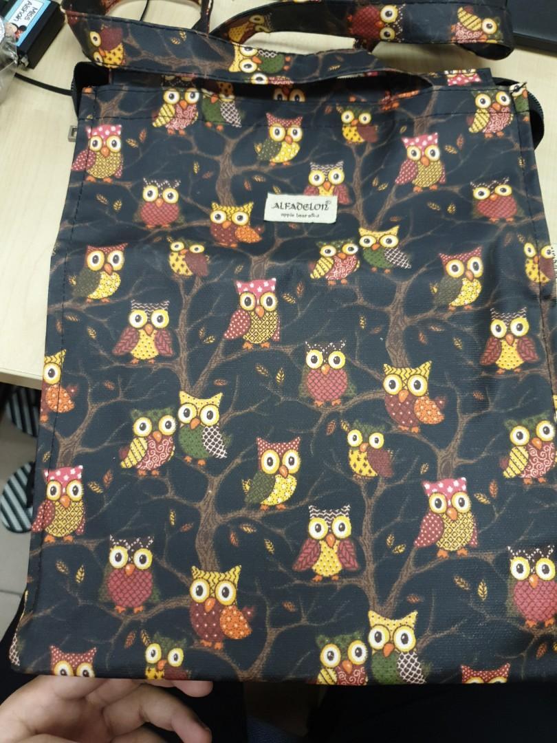 A4 portrait canvas Owl bag