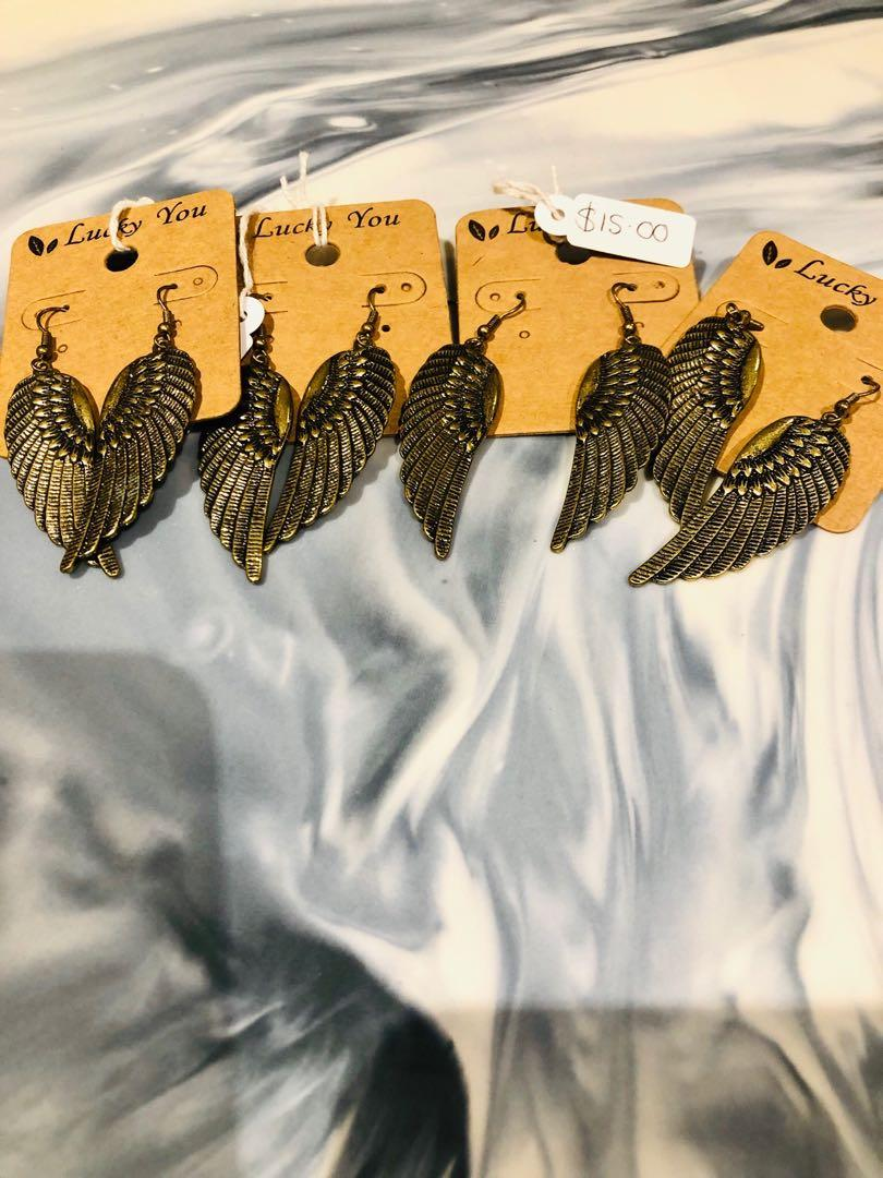 Antique Gold Style Angel Wings Earrings(Free With  Purchases $20 or More)