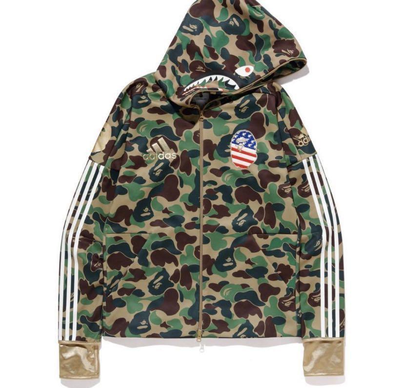 release date 0ed87 ff322 Bape x Adidas NFL Green Camo Shark Hoodie, Women's Fashion ...