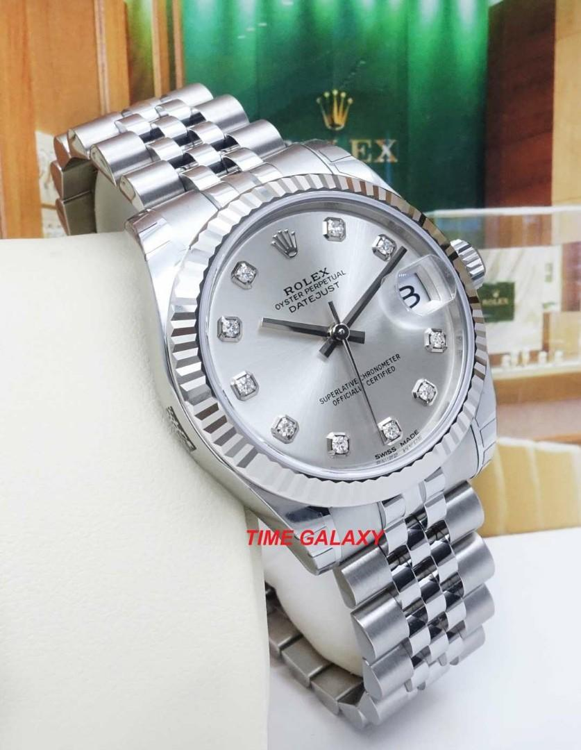 Brand New ROLEX Oyster Perpetual 31mm Datejust Automatic Silver Dial with 10 Diamonds. Swiss made. Ref model : 178274
