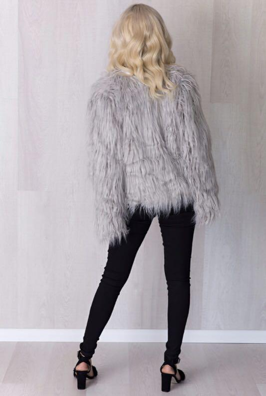 PRICE REDUCED - Brand new (with tags) grey faux fur jacket