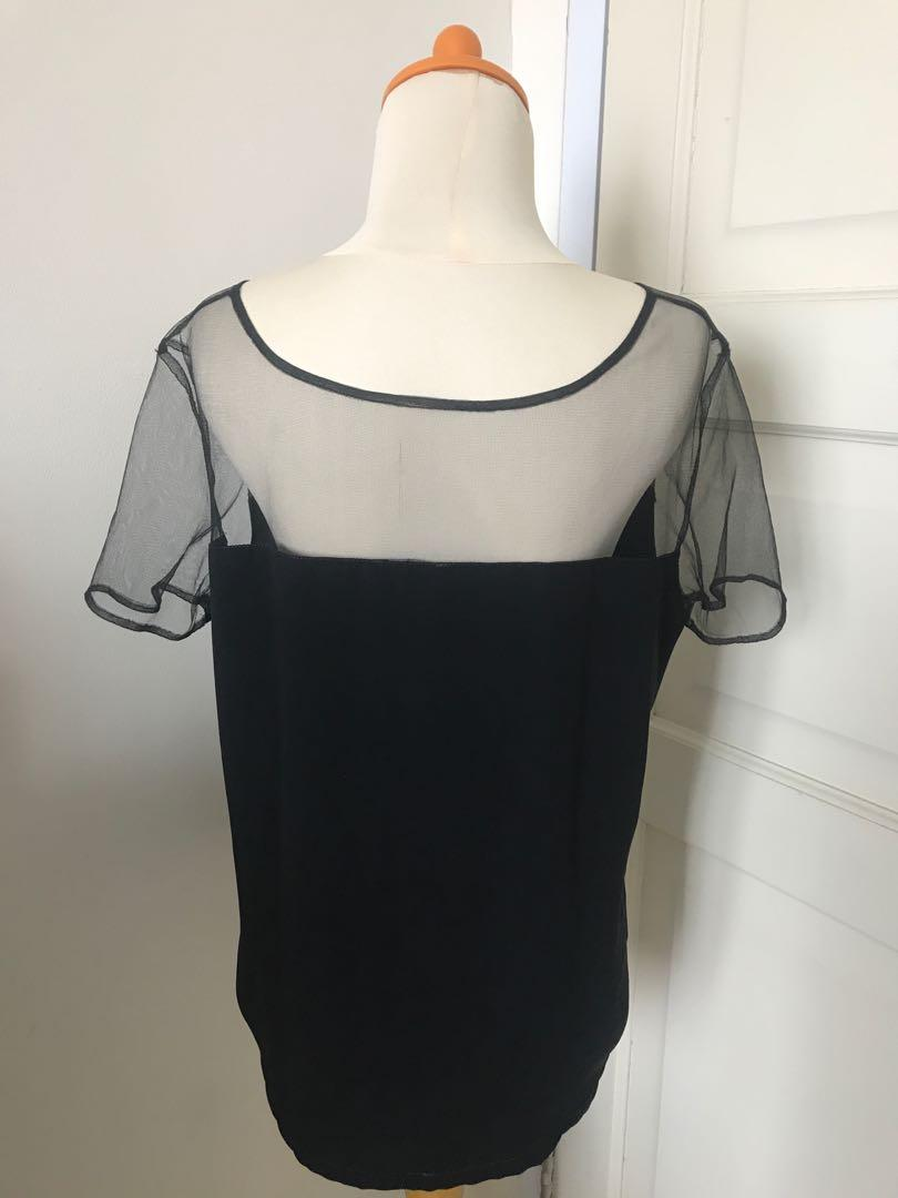 Cloth Inc Black Tulle Top