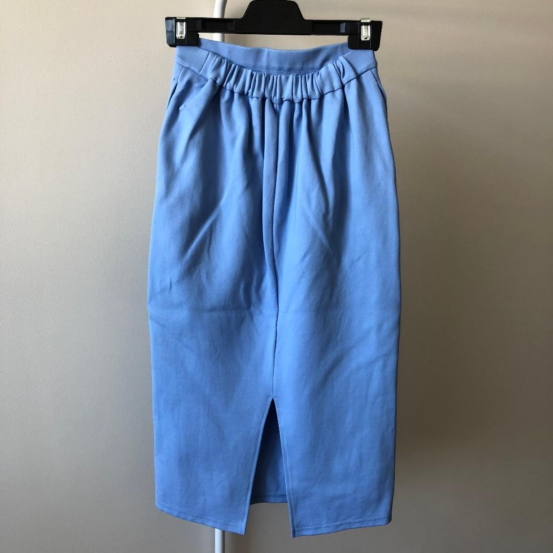 GU Light Blue Skirt With Elastic Waist (Size S, Fits 6 to 8)