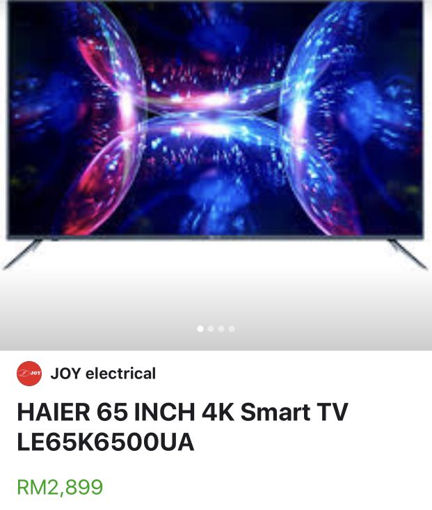 """Haier 65"""" 4k smart android tv on Carousell"""