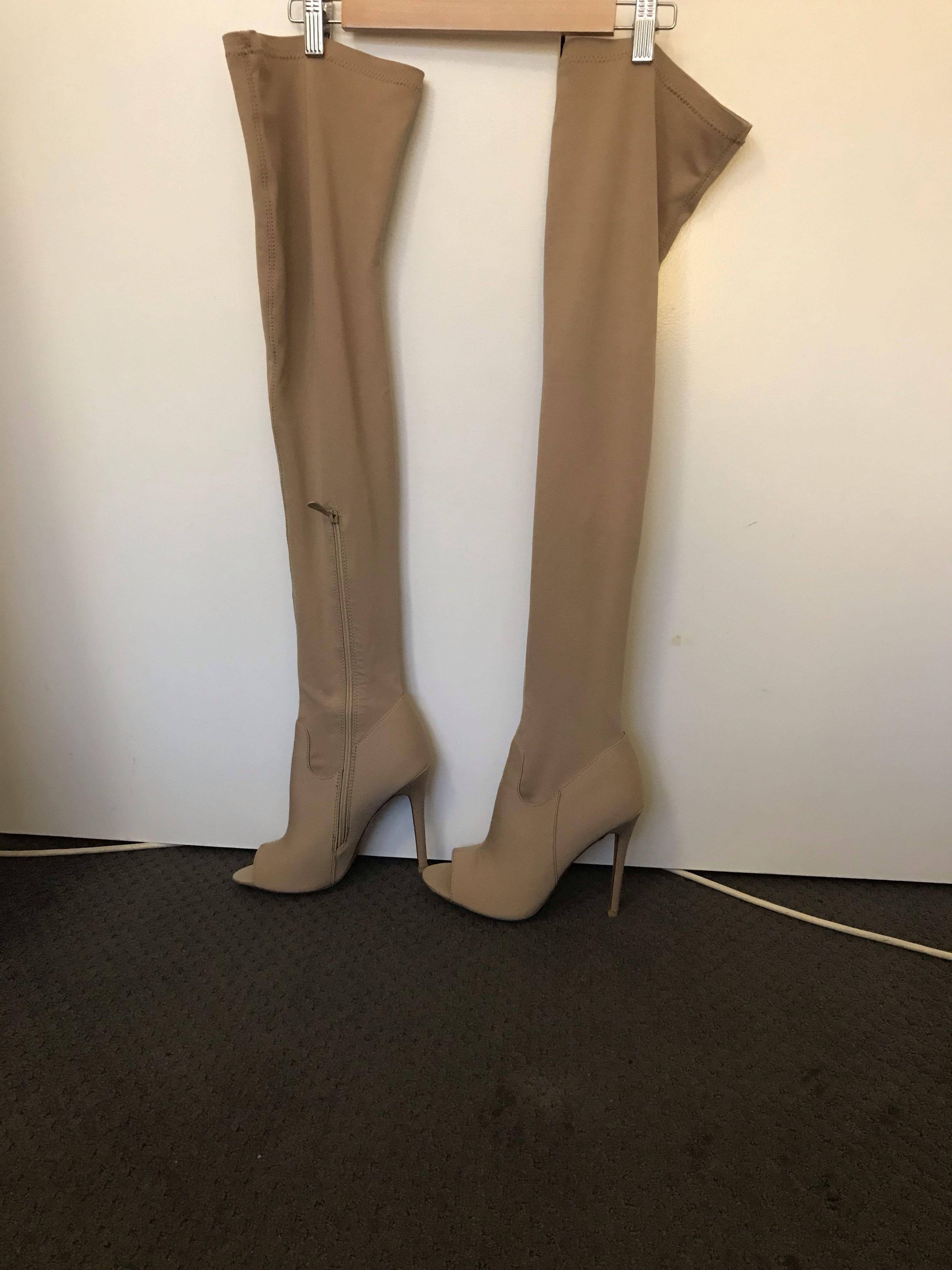 High knee nude heels