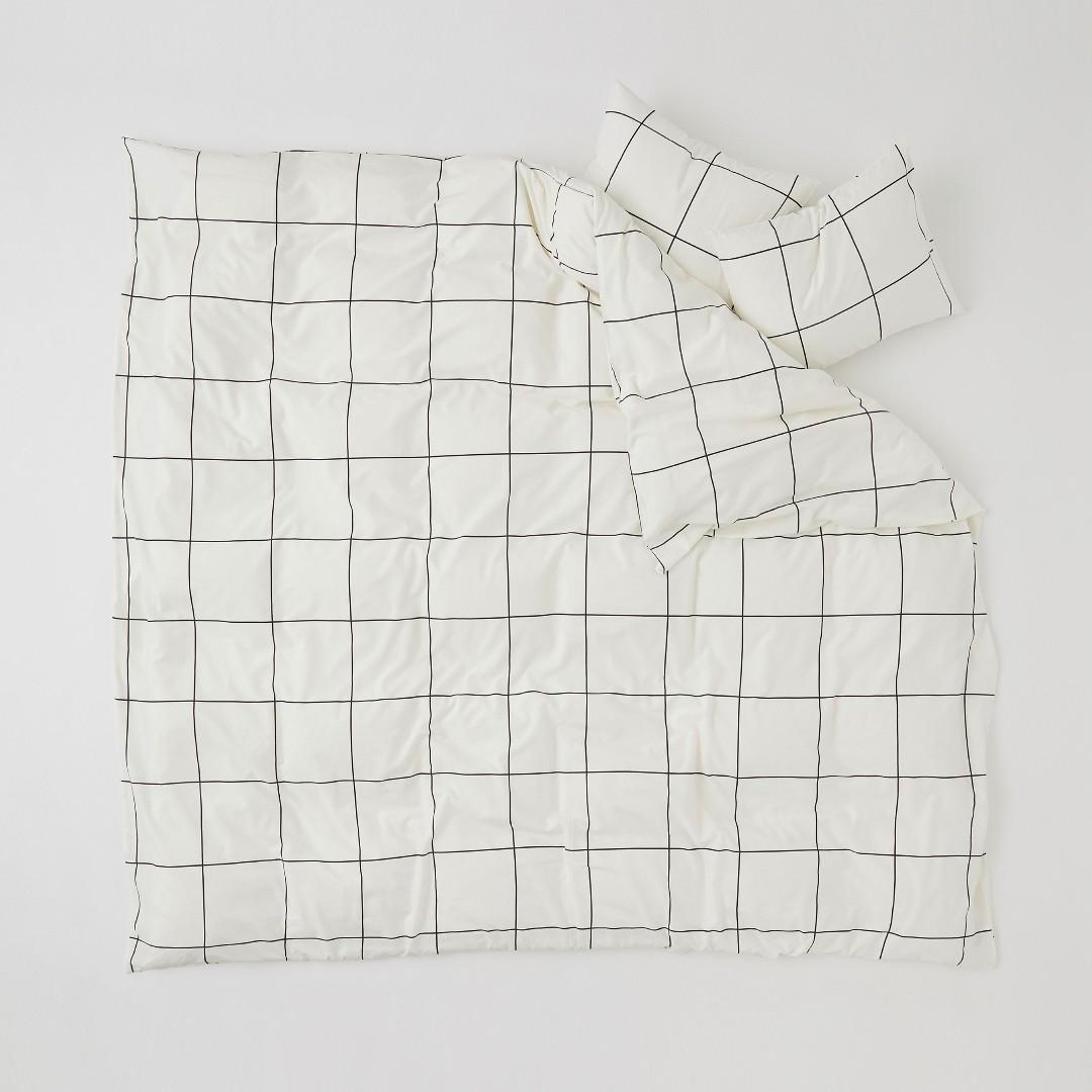 H M Home Grid Striped Bed Comforter